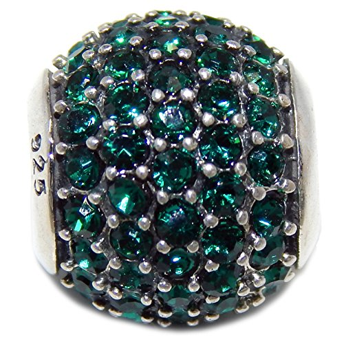 Pro Jewelry 925 Solid Sterling Silver Emerald Green Crystal Barrel Charm Bead