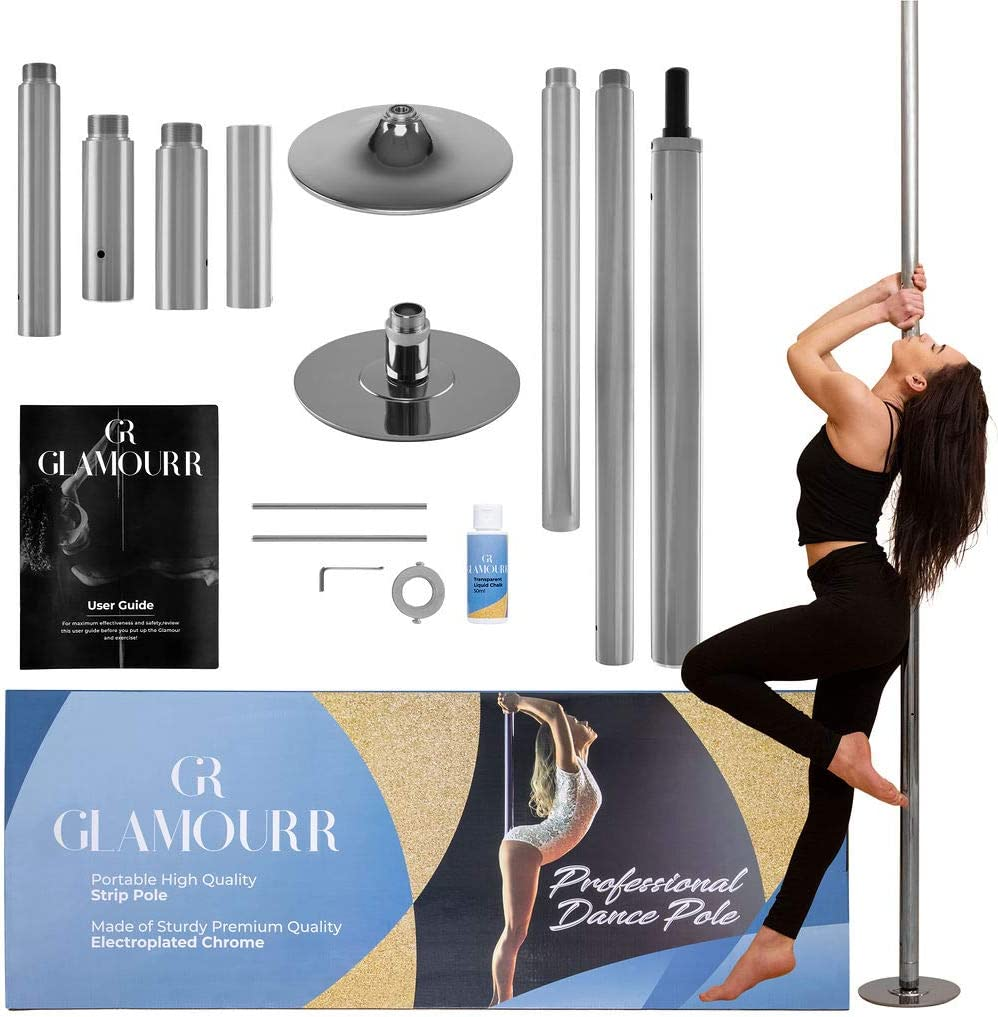 GLAMOURR Stripper Pole for Home Kit   9 Feet + Extra 20 Inches Extension for Static or Spinning Pole Dancing   Dancing Pole and Fitness with Bonus Liquid Chalk   Perfect Lap Dance Pole for Bedroom