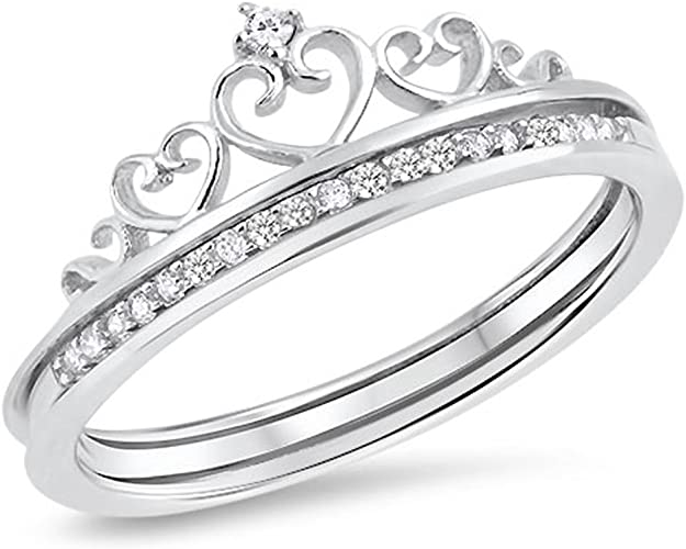 .925 Sterling Silver Princess Cut Clear CZ Wedding Promise Ring Size 5-10 New