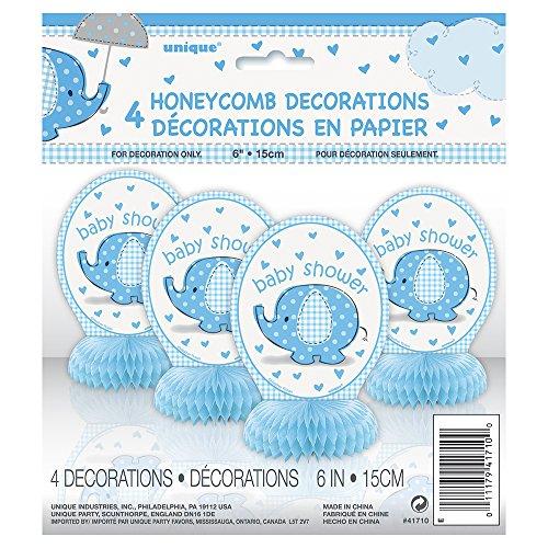 6 Mini Blue Elephant Boy Baby Shower Decorations 4ct