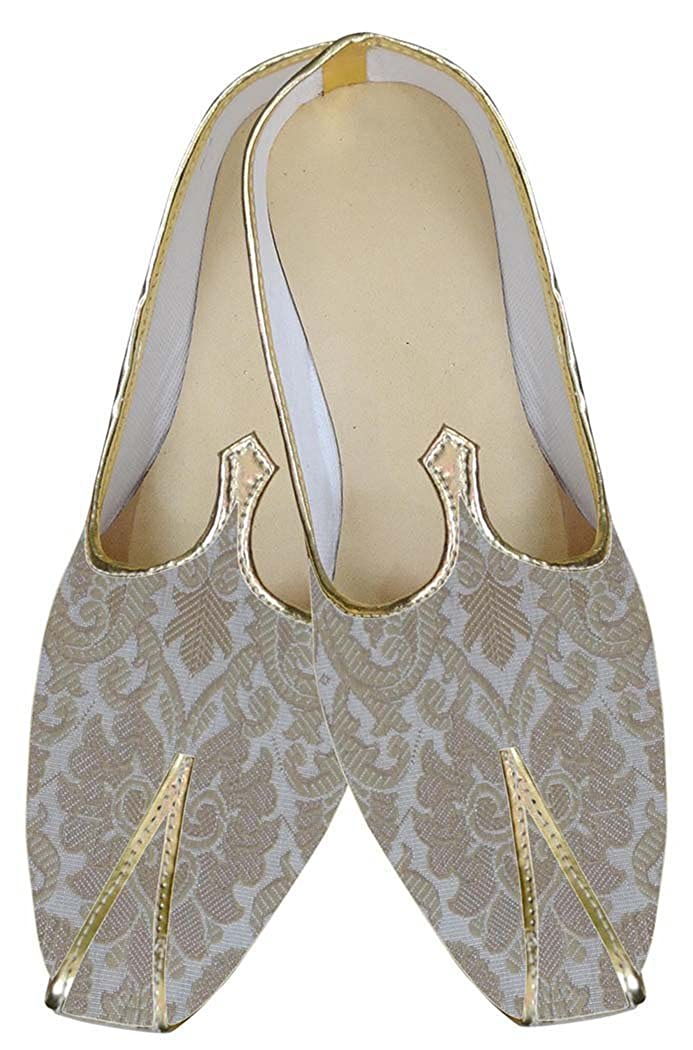 INMONARCH Mens Indian Bridal/Shoes Cream and Beige Indian Wedding Shoes MJ0161