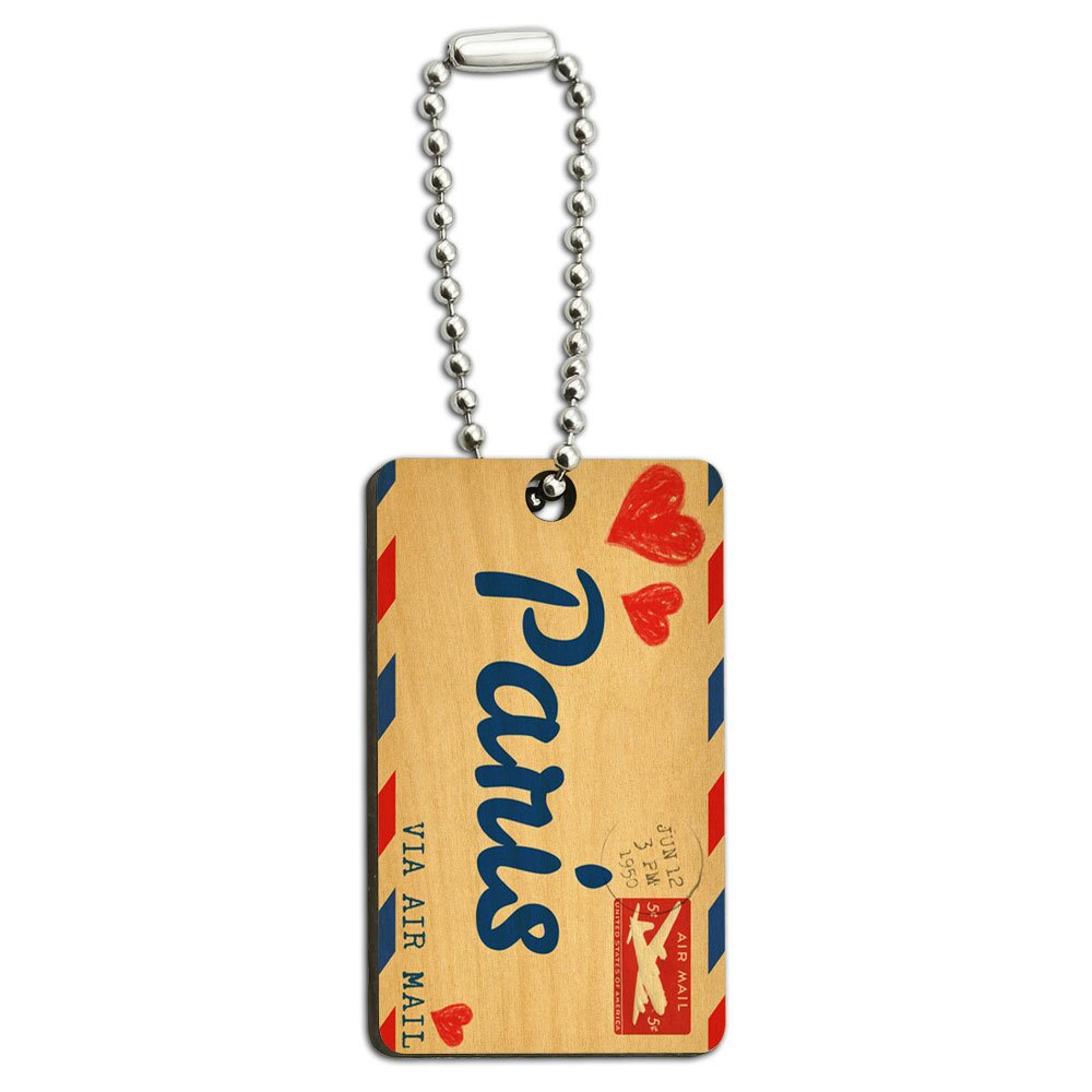 Air Mail Postcard Love for Paris Wood Wooden Rectangle Key Chain