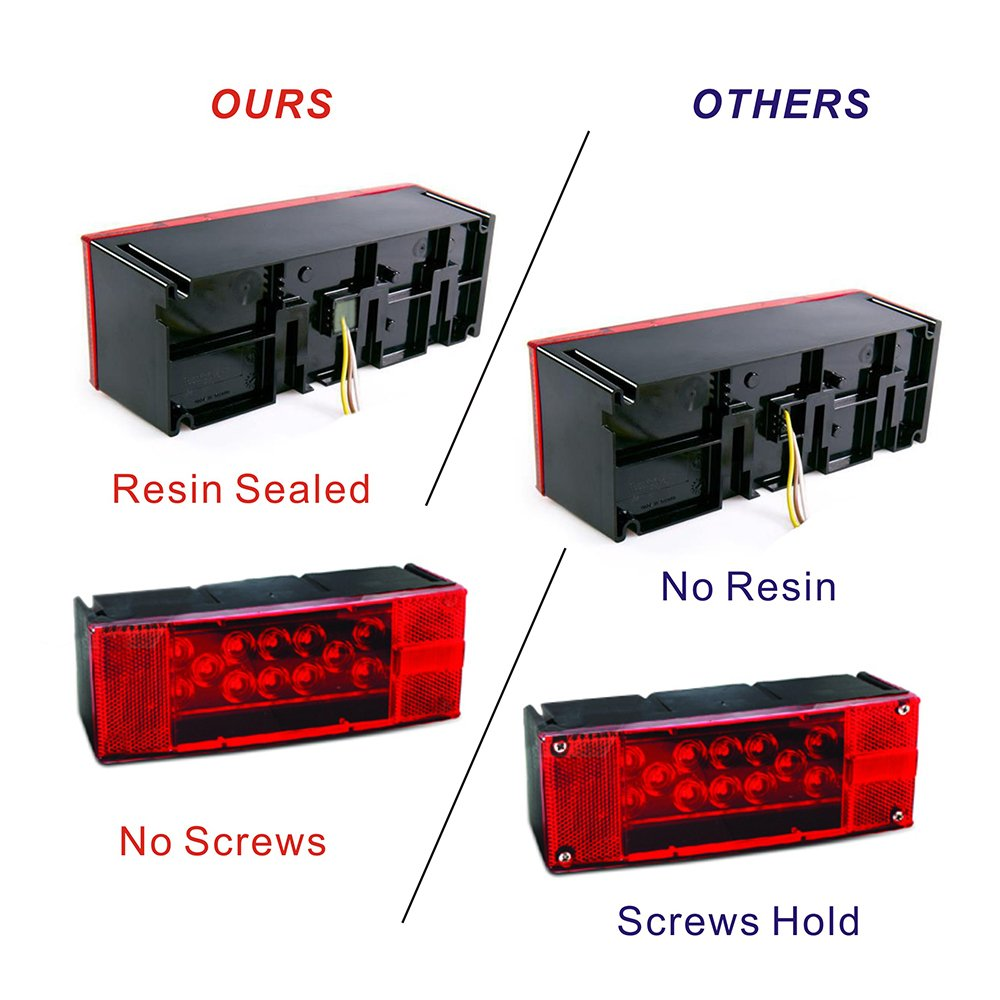 Led Trailer Light Kit 12v Submersible Low Profile Tail Stop Wiring Harness