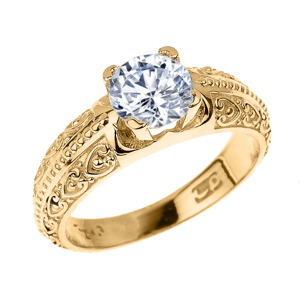 Solid 14k Yellow Gold Art Deco CZ Solitaire Engagement Ring(Size 8.75)