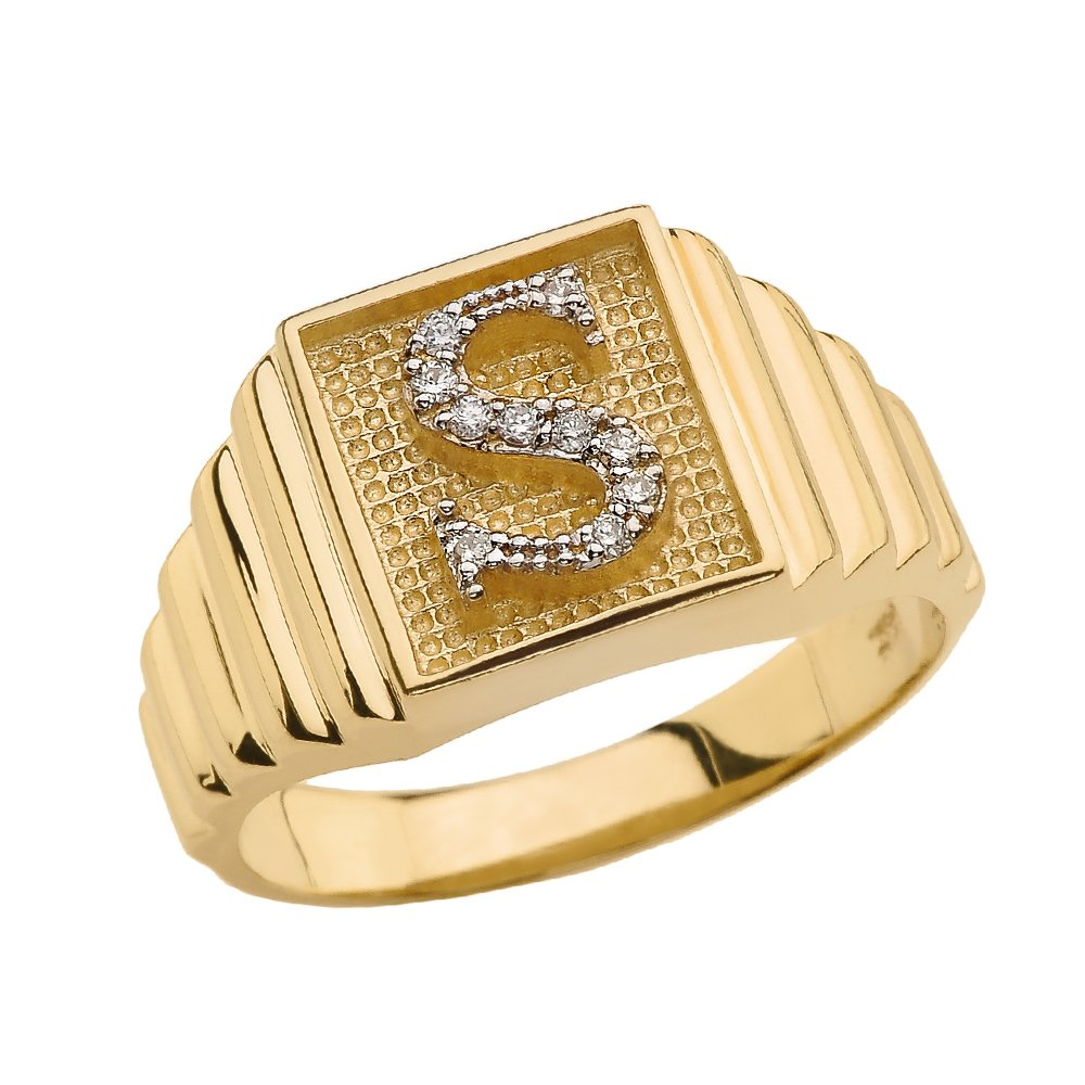Men's 14k Yellow Gold Layered Band Square Face Diamond Initial Letter S Ring (Size 11)