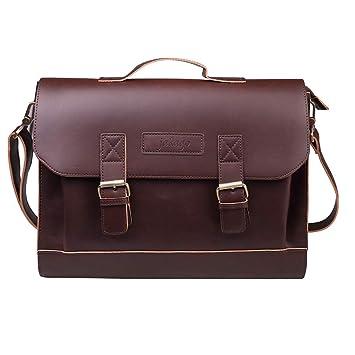 6c50ca025a71 Amazon.com  JAKAGO 14.6 Inch Vintage PU Leather Briefcase Laptop Shoulder  Messenger Bag Tote School Distressed Bag for Women and Men (Brown)  Jakago