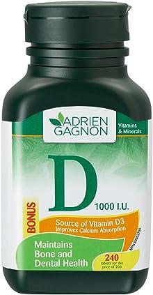 Vitamin D, for Bone and Teeth Support, 1000 I.U, 240 (200+40 Bonus) Tablets, by Adrien Gagnon