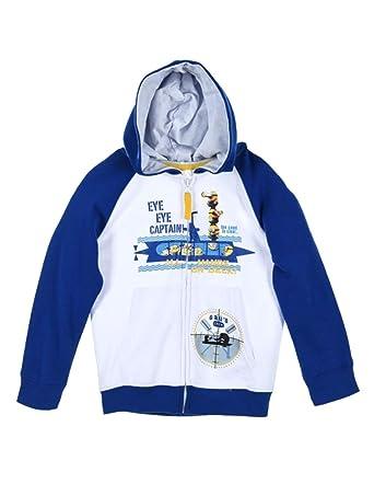 les minions - Sudadera con Capucha - para niño Blanco/Azul 3 años