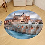 Gzhihine Custom round floor mat Roman Bridge and Guadalquivir River Great Mosque Cordoba Spain