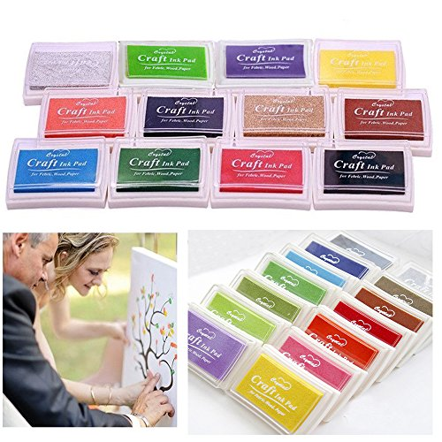 Stamp ink,12 different colors,multicolored,stamp pad set,stamp pads Cherioll for paper material, fingerprint, scrapbook, painting Wedding kids birthday party favors (12 pcs square)