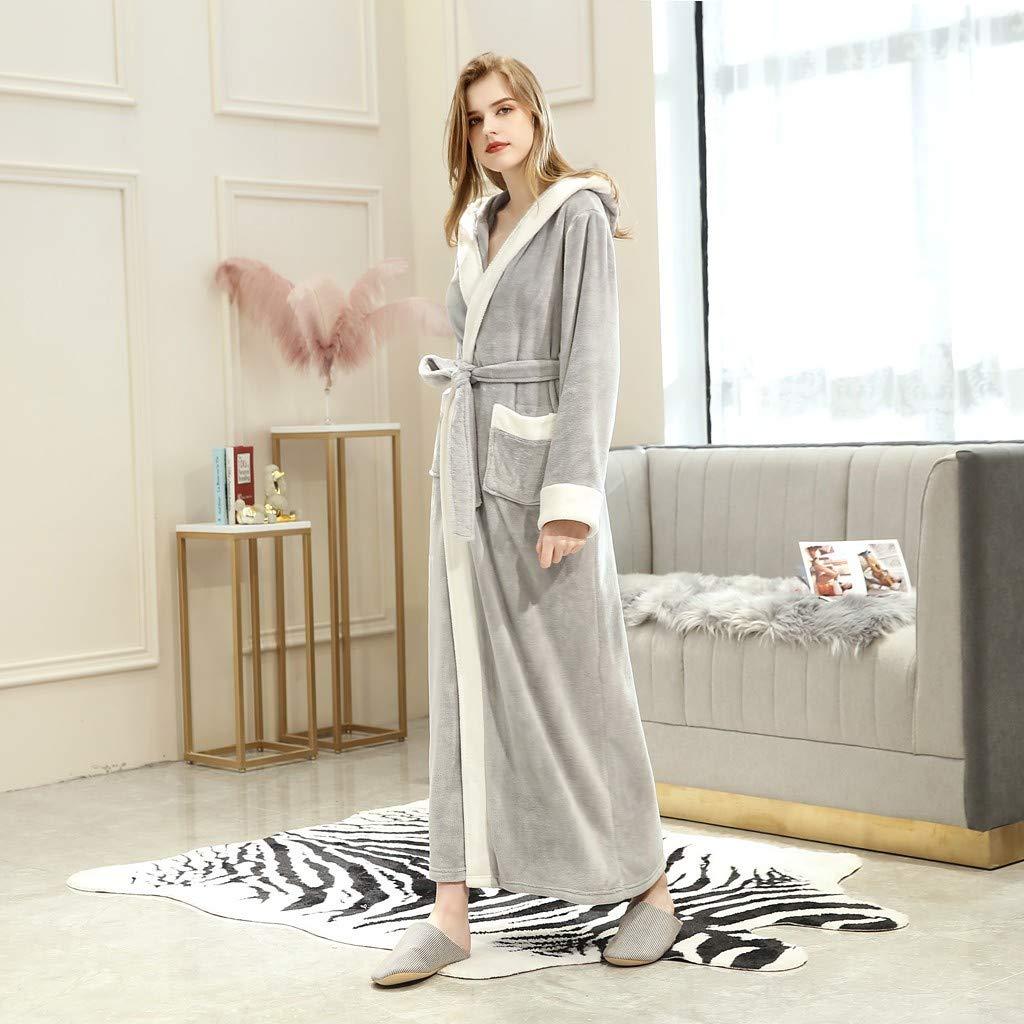 Hooded Cozy Soft Plush Bathrobe Spa Robe Lightweight Soft Sleepwear with Pockets Unisex Fleece Contrast Colored Robe