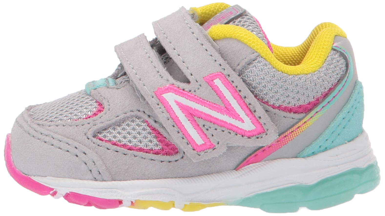 New Balance Girls' 888v2 Hook and Loop Running Shoe, Grey/Rainbow, 2 W US Infant by New Balance (Image #5)