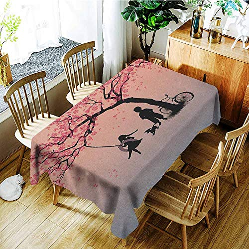 XXANS Outdoor Tablecloth Rectangular,Tree of Life,Children Playing on a Tire Swing Under Cherry Tree with Dog Blossom Spring Art,Table Cover for Kitchen Dinning Tabletop Decoratio,W60X90L Pink Black