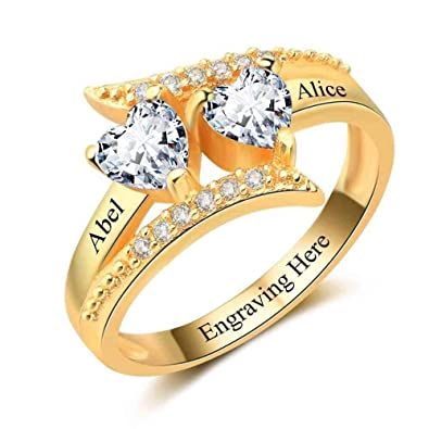 84cfad651a Lam Hub Fong Personalized 2 Simulated Birthstone Promise Rings for Couple  Custom Engraved Names Mothers Rings for Mom Gold Valentines Day Jewelry for  Women