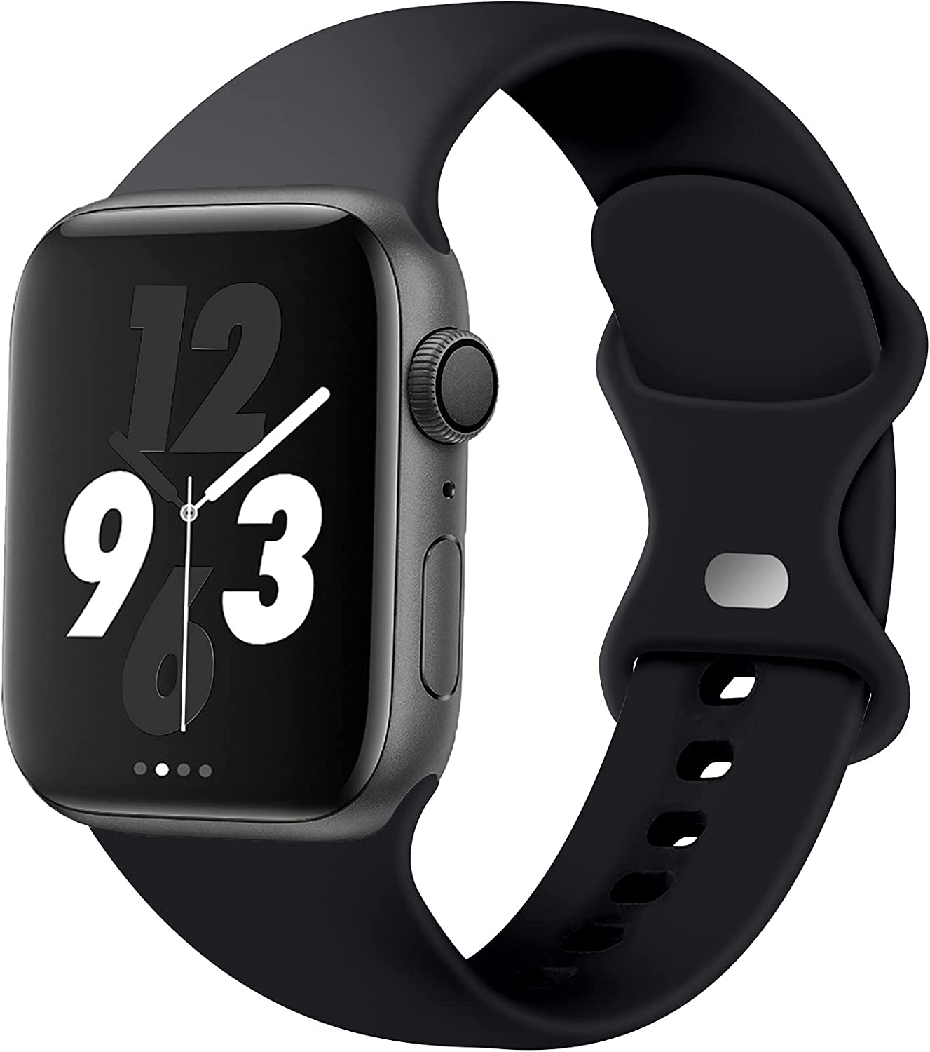Acrbiutu Bands Compatible with Apple Watch 38mm 40mm 42mm 44mm, Replacement Soft Silicone Sport Strap for iWatch SE Series 6/5/4/3/2/1 Women Men, Black 38mm/40mm M/L
