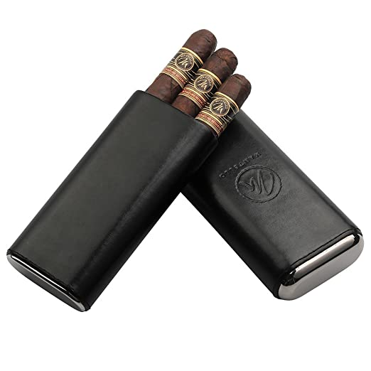 Mantello Black Leather Cigar Case