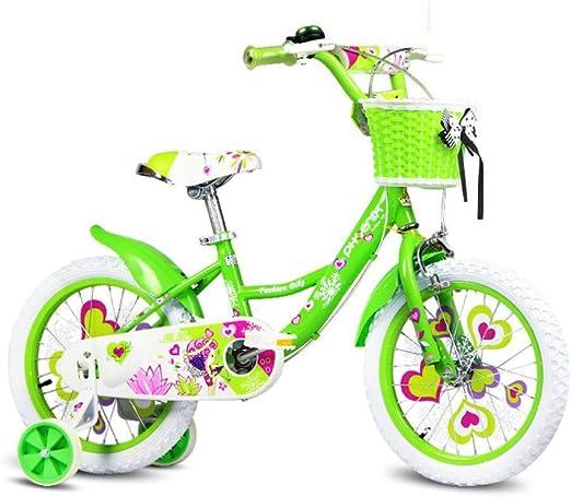Hokaime Bicicleta para niños 16/14/12/18 Pulgadas Bicicleta para bebé niña 2-8 años Cochecito para bebé niña, 16 Pulgadas Verde: Amazon.es: Hogar