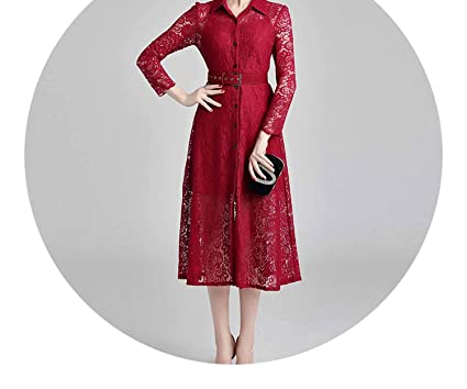 Autumn Midi Red Lace Vestidos Casuales Sleeves Summer Dress K9102,Burgundy,S
