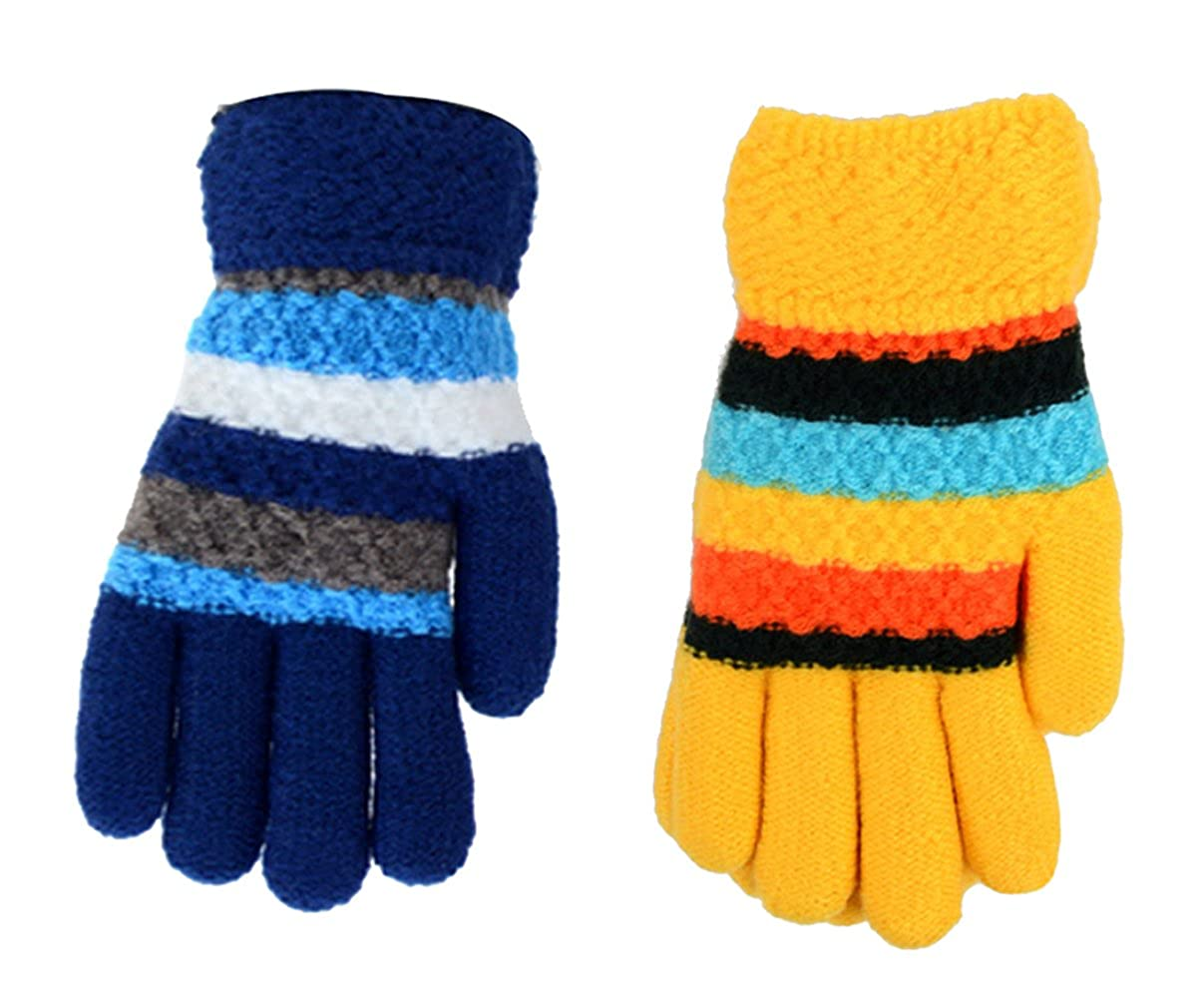 Set of 2 Children's Knit Winter Gloves with Fuzzy Fleece Lining~Cute Multi-color Stripes~Size for 8-12 Year Old Boys & Girls