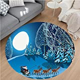 Nalahome Modern Flannel Microfiber Non-Slip Machine Washable Round Area Rug-anta in Sleigh a Holy Night with Full Moon Snowy Winter Theme Night Before Xmas Navy Blue area rugs Home Decor-Round 67''