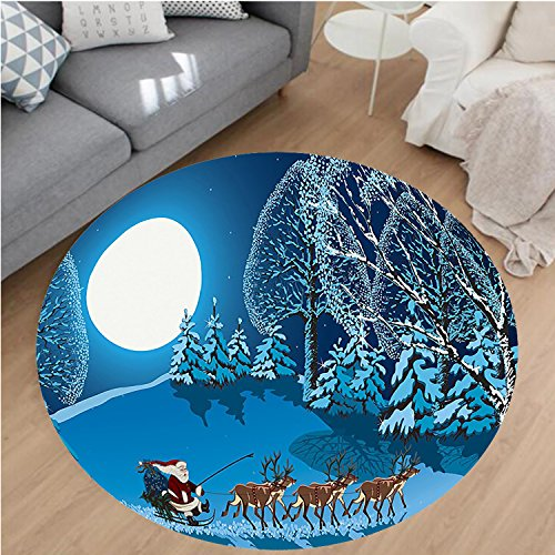 Nalahome Modern Flannel Microfiber Non-Slip Machine Washable Round Area Rug-anta in Sleigh a Holy Night with Full Moon Snowy Winter Theme Night Before Xmas Navy Blue area rugs Home Decor-Round 75'' by Nalahome