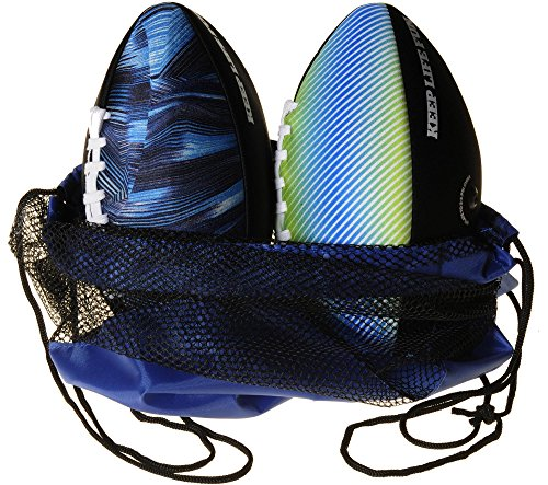 Waboba Water Football 9 _ Bundle of 2 Footballs (Random Colors) _ Bonus Blue Nylon/Black Mesh Carry Bag _ Bundled Items