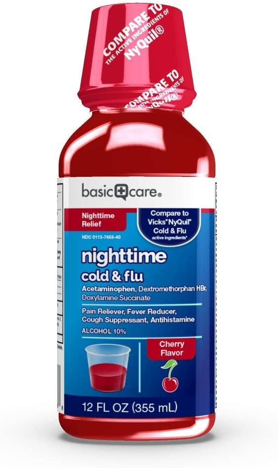 Amazon Basic Care Nighttime Cold and Flu Relief, Pain Reliever, Night Time Cherry, 12 Fl Oz