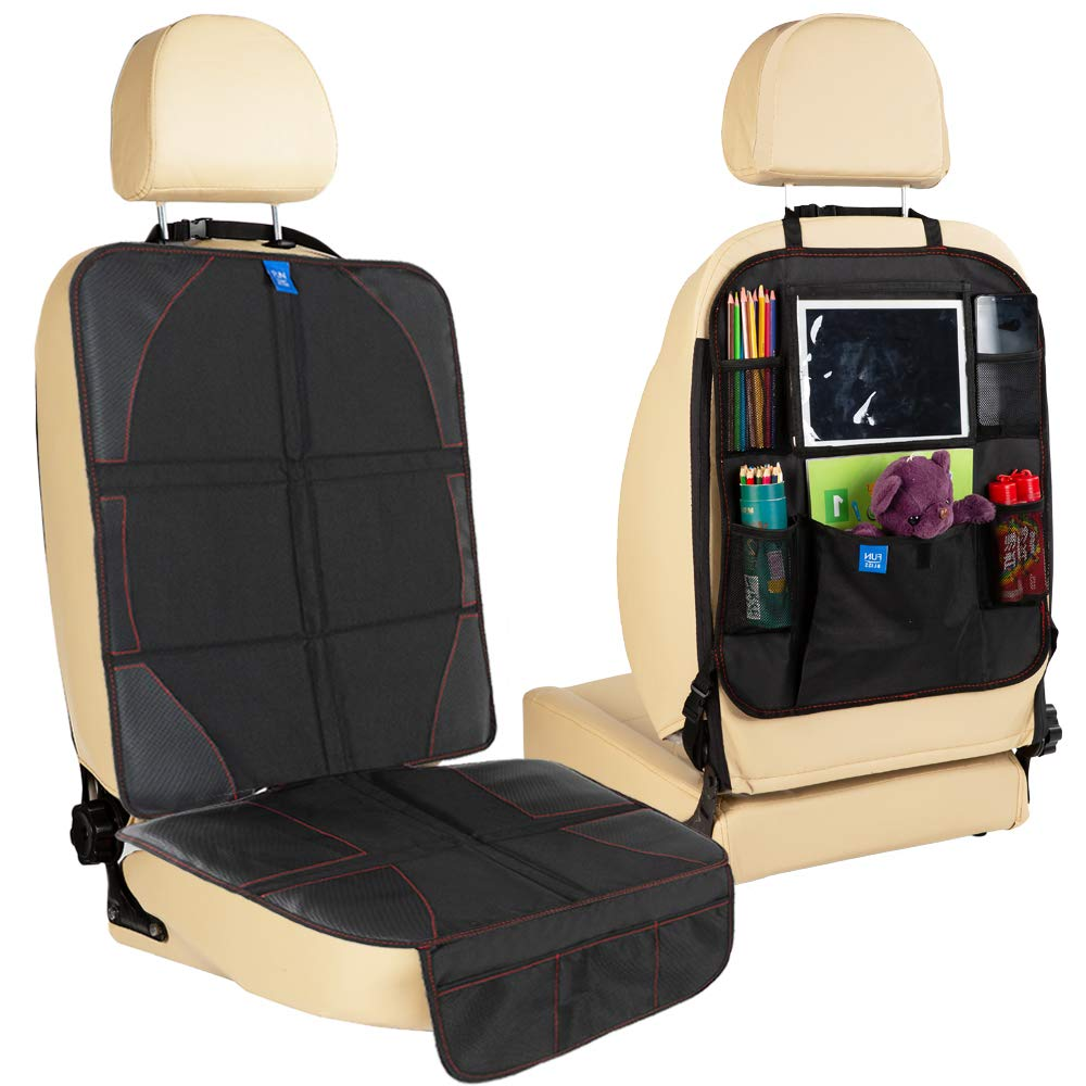 Funbliss Car Seat Protector Waterproof Kick Guards Durable Quality Seat Covers Kick Mat Auto Seat Back Protector Beige with Multi Pocket for Large Storage