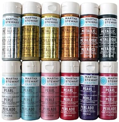 Martha Stewart Crafts Multi-Surface Acrylic Craft Paint Set (2-Ounce), Metallic and Pearl Best Selling Colors