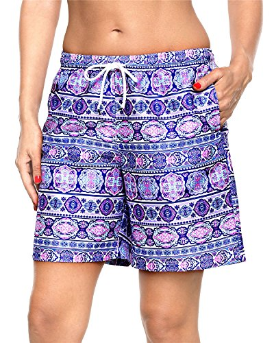 (ALove Women Long Board Shorts Floral Swim Shorts Bathing Suits Bottoms Tribal XXXL)