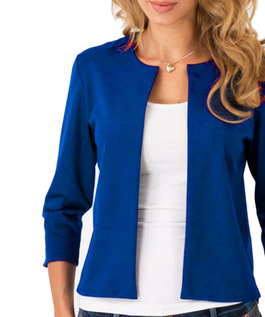 MLG Womens Casual 3/4 Sleeve Crewneck Work Blazer Coat Jacket Jewelry Blue s