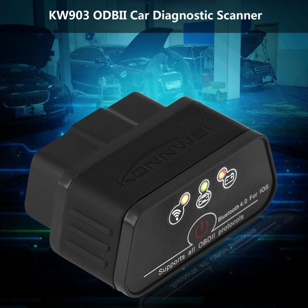 Diagnosegerät Acouto Konnwei Kw903 Bluetooth 4 0 Odbii Auto Diagnose Scanner Werkzeug Fehlererkennung Schwarz Auto
