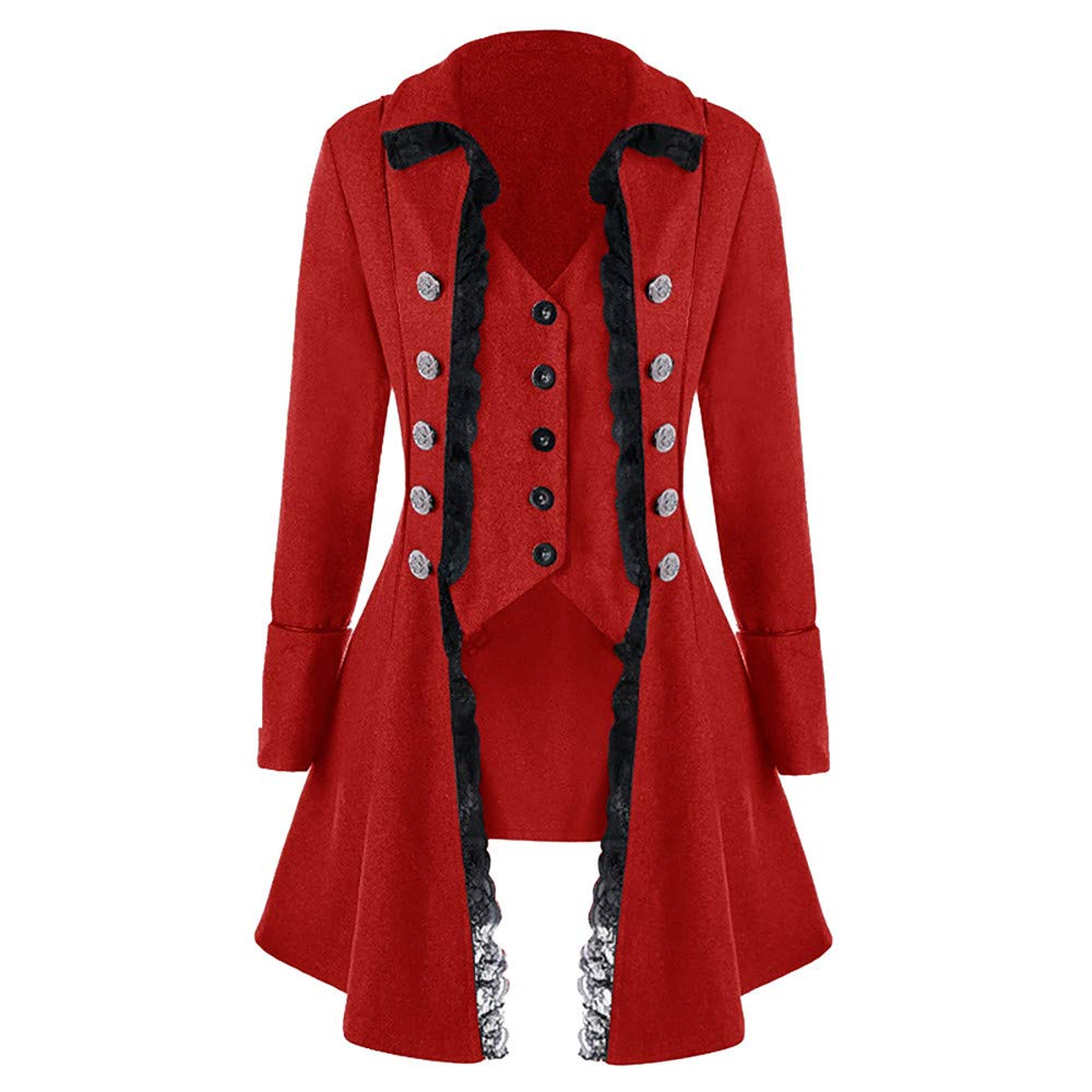 MIRRAY Mens Coat Mens Autumn Winter Solid Tailcoat Casual Turn-Down Collar Jackets Gothic Frock Uniform Button Lace Long Outerwear Large Size Tops Slim Christmas Party Blouse Outwear