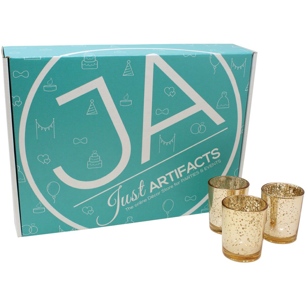 Just Artifacts Mercury Glass Votive Candle Holder 2.75''H (25pcs, Speckled Gold) -Mercury Glass Votive Tealight Candle Holders for Weddings, Parties and Home DÃcor