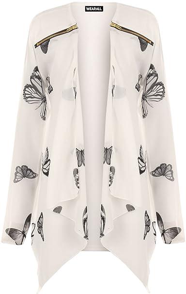talla grande mujer Chifón Manga Larga Estampado De Mariposas Cárdigan Cremallera Blusa Para Mujer - sintético