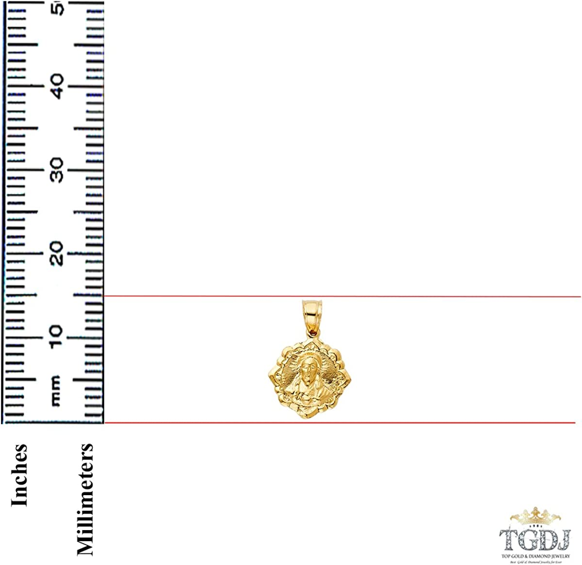 Weight 1.9 Grams TGDJ 14k Yellow Gold Religious Double Side Pendant Height 15 MM Width 15 MM//Avg