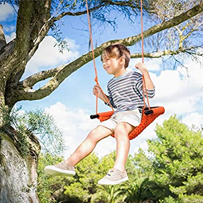 Kids Swing Seat Heavy Duty Rope Play Secure Children Swing Set for Indoor//Outdoor//Playground//Home//Tree with Snap Hooks and Swing Straps|Suit for 2 to 12 Years|440 lbs Capacity Red