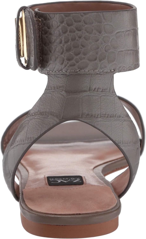 ZAC Zac Posen Womens Flat Sandal with Velcro Closure Ankle Strap Mule