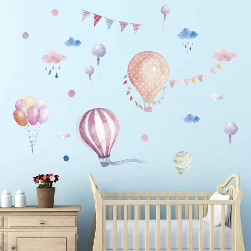 Colourful Hot Air Balloons Wall Decals, Watercolor Cloud Raindrop Balloon Wall Stickers,3D DIY Lettering Art Decor for Kids Nursery Classroom Bedroom Living Room,Peel and Stick Removable Wall Stickers