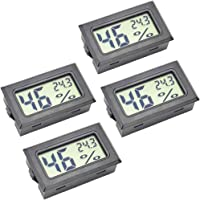 Mini Hygrometer, 4-Pack Small Thermometer Hygrometer Digital LCD Monitor Indoor Outdoor Humidity Meter Gauge for Humidifiers Dehumidifiers Humidors Greenhouse Basement Babyroom, Measure in Celsius