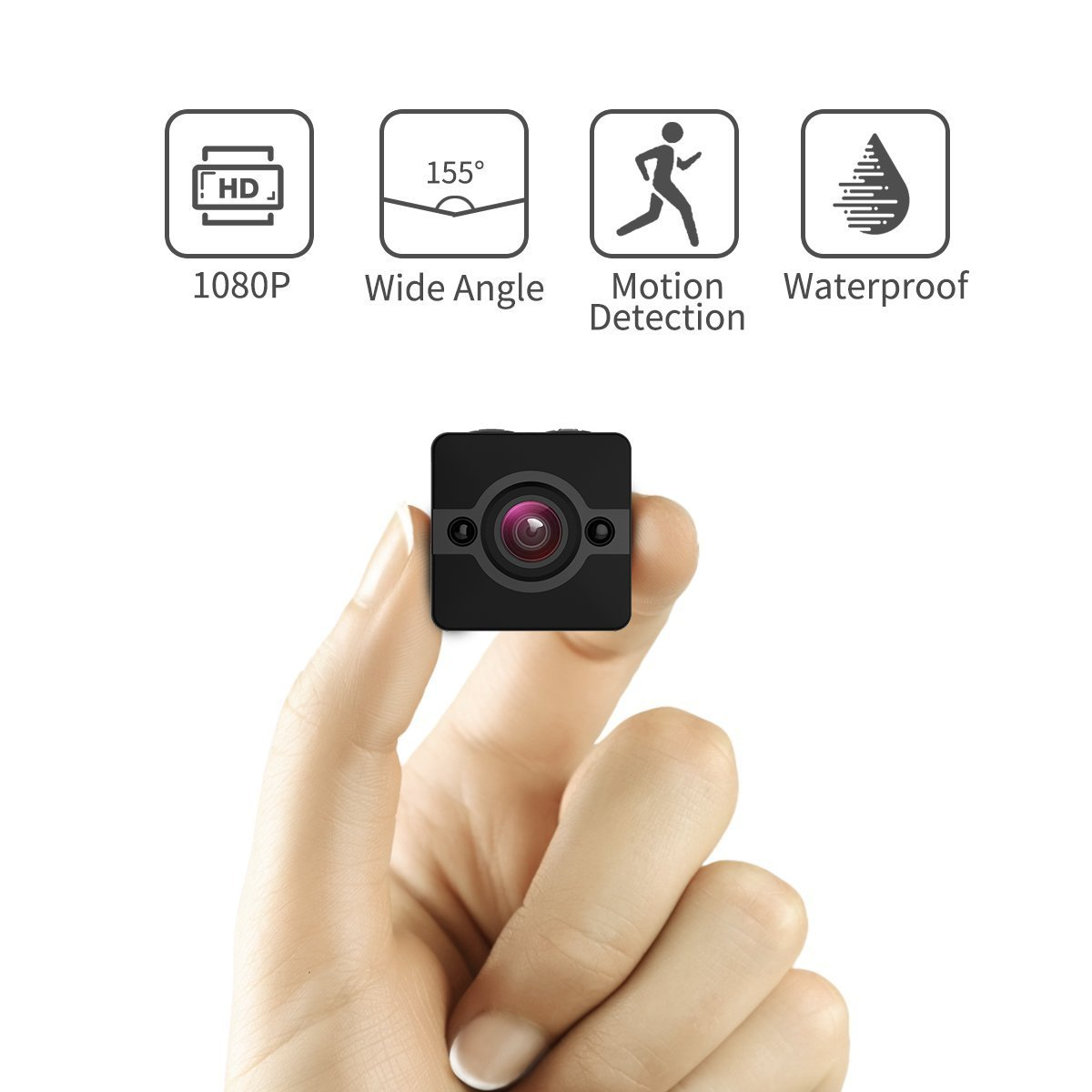 Mini Spy Hidden Camera, Waterproof Extreme Full HD Camera with 155° Wide-Angle Lens, Nanny/Housekeeper Cam with Night Vision & Motion Detection, Sports Action Cam with Mounting Accessories Kit