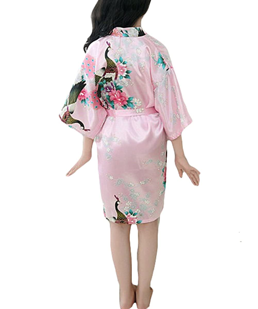 Amazon.com  YOLIA Girls Kids Summer Nightgowns Floral Printed Stain Silk  Kimono Robes Sleepwear Nighties  Clothing 5963e9f02