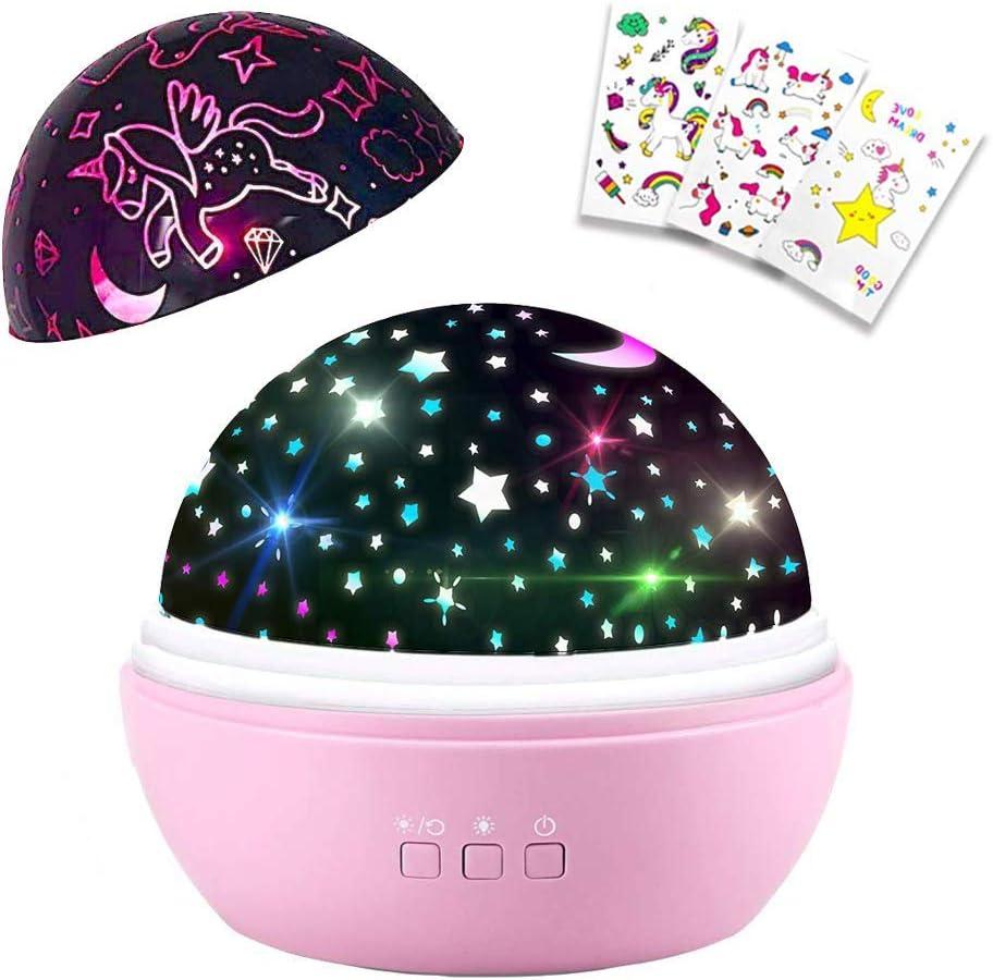 Unicornio Luz Nocturna para Niños,Proyector Estrellas Bebé, Regalo Unicornio Niña,360° Rotación 8 Modos Romántica luz de la Noche,Perfecto Regalo Para Bebés