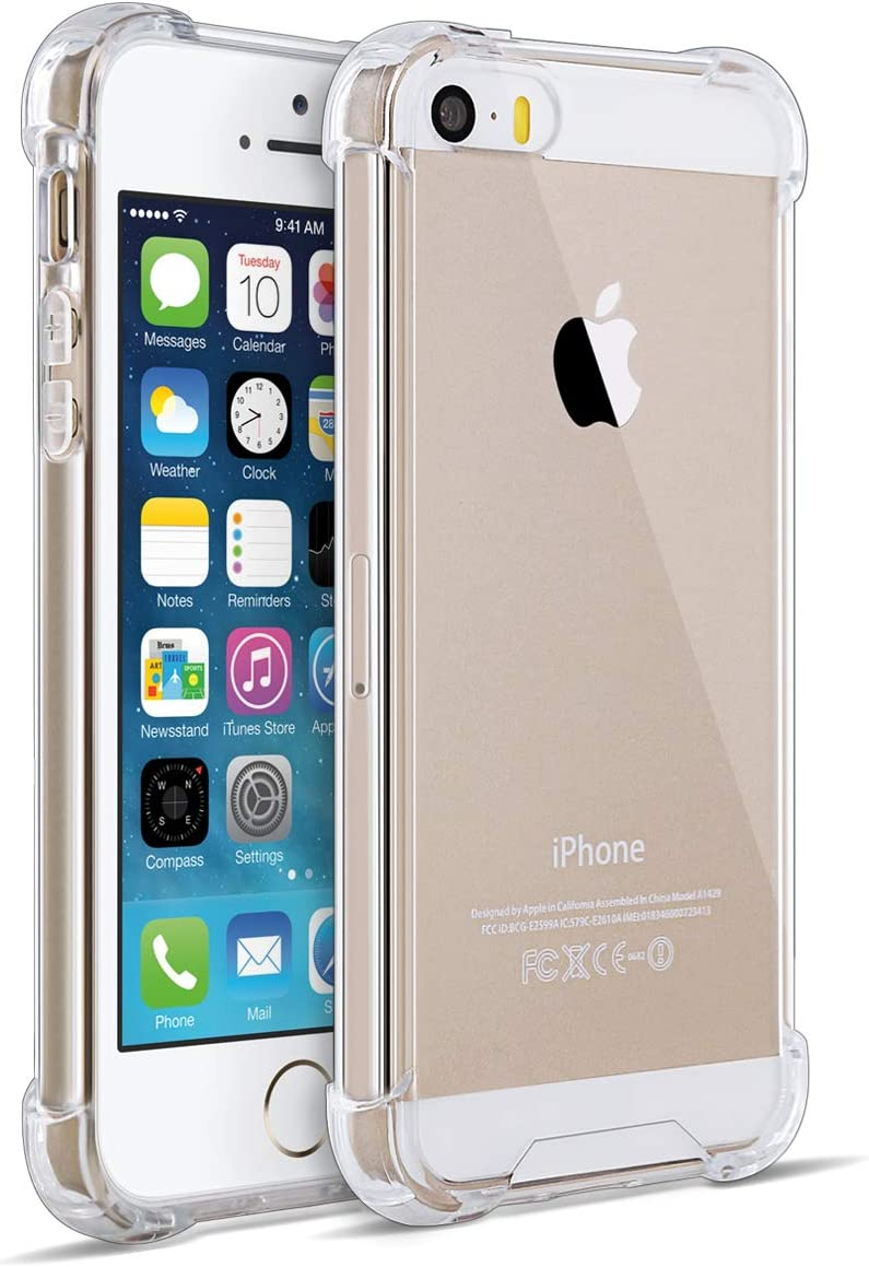 MUNDULEA Case iPhone SE (2016 Edition)/iPhone 5s/ipphone 5 Crystal Protection Clear Shock Absorption Technology Bumper Soft TPU Cover Compatible iPhone 5s Case (Clear)