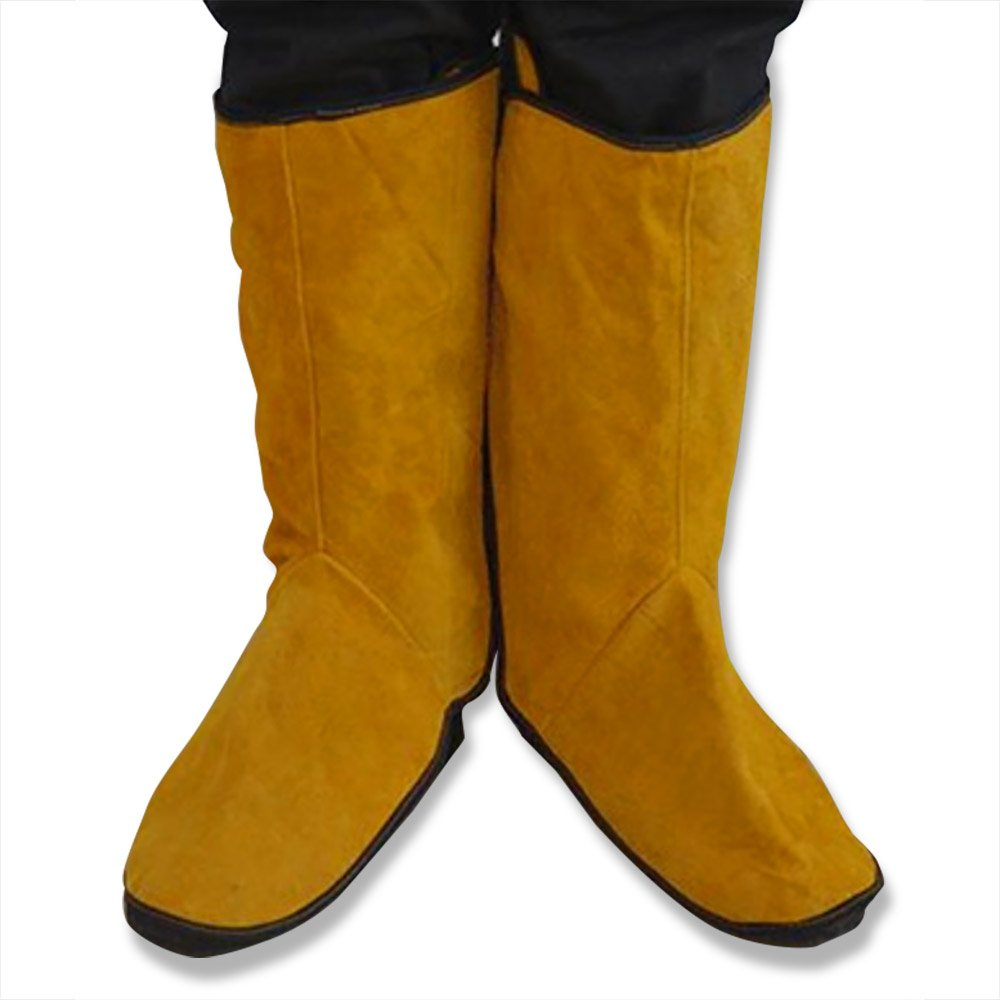 One Pair of NUZAMAS Cowhide Welding Protective Shoes Feet Cover Welder Inflaming Retarding