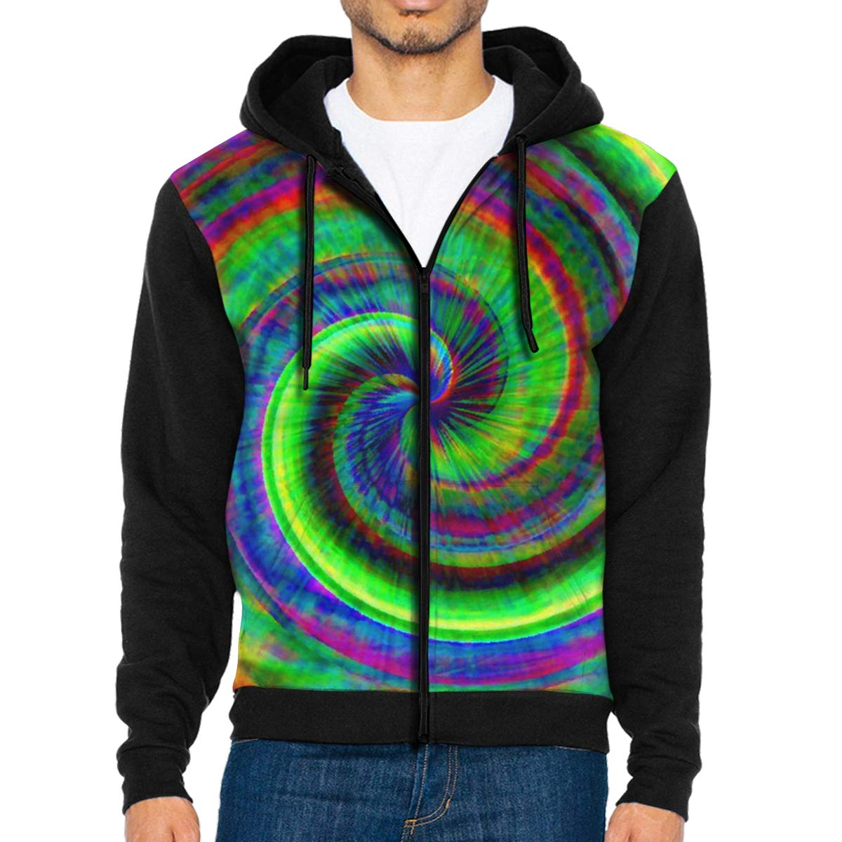 MHBGMYES Tie Dye Lightweight Mans Jacket with Hood Long Sleeved Zippered Outwear