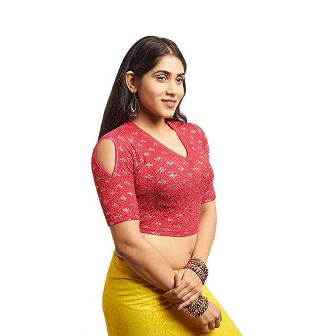 Blusa sari confeccionada en algodón de dorada Blusa sari con sari El mejor complemento para Saree