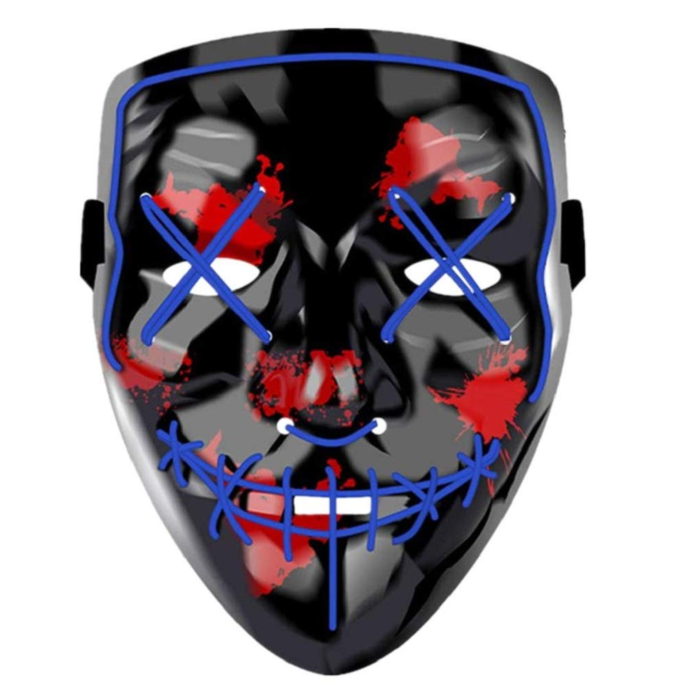LED Halloween Mask,Scary mask with LED Light,Cosplay Glowing mask for Halloween Festival Party (Blue)  Price: $12.99