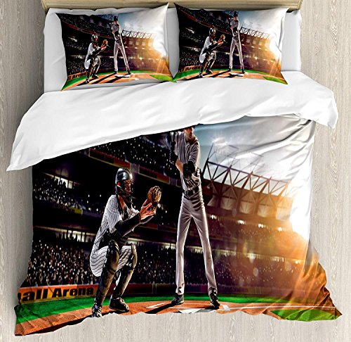 SINOVAL Teen Room 4 Piece Bedding Set Twin Size, Professional Baseball Players in The Stadium Playing The Game Pich Sports Print, Duvet Cover Set Quilt Bedspread, Color