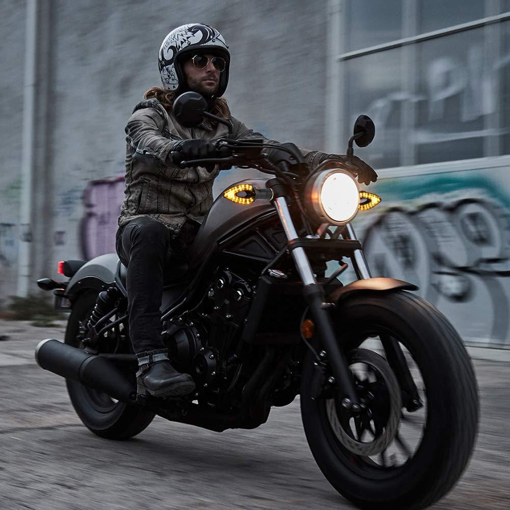 Yizhet 4pz Indicatori di Direzione Moto Universali 12V 14 LED Frecce Mini Luce Led Moto Omologate Nero impermeabili per Moto Sportbikes Cruisers Scooters